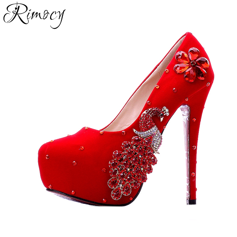 Rimocy brand design handmade red wedding shoes woman crystal peacock gold flower 10-14cm high heels bride pumps women customized<br>