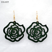 Pair  new design good african wood  rose flower earrings Latest new arrival  Round new design quality