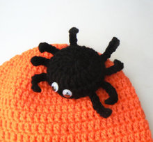 Halloween Hat, Spider Hat, Spider Beanie, Toddler Hat, Kids, Funny , Orange, Scary Hat, Fall Outfit