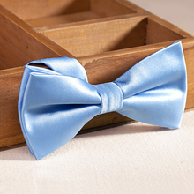 2017 New Fashion Bow Ties for Men Double Fabric Solid Sky Blue Bowtie Romantic Wedding Party Butterfly Knot and Bow Tie Gift Box(China)