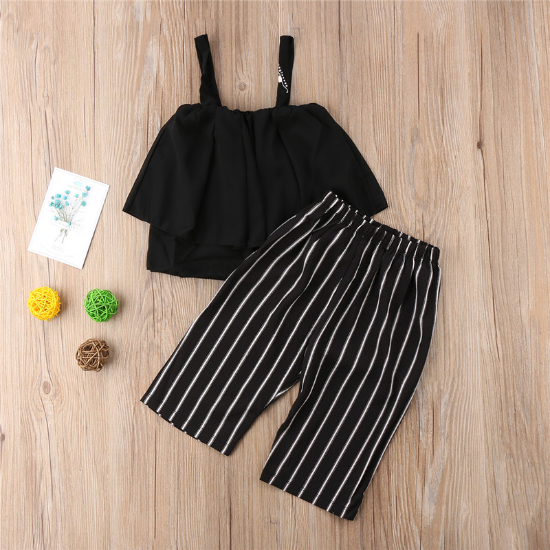 Summer Toddler Baby Kids Girl 2PCS Striped Clothes Skirts Tops+Pants Outfits Set