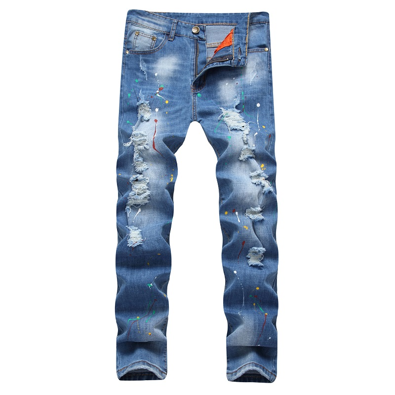 New 2017 Summer Men Jeans Ripped Biker Holes Elastic Ripped Denim Ink Rock Pants Casual Punk Mens Skinny Blues Jeans Trousers(China (Mainland))