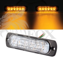 2PCS High Quality 6 LED Car Emergency Beacon Light Bar 3W Amber Led Strobe Light for Universal Design 19 Flashing Modes