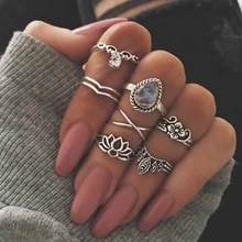TOMTOSH Fashion Bohemian Wedding Jewelry 7pcs / Set Big Water Drops Crystal Resin Hollow Lotus Flowers Crown Vintage Ring Women