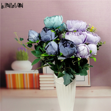 Decorative Artificial Flower Blush Silk Peony Flowers Bouquet Flower Peonies Bouquet For Home Wedding Flowers Arrangement(China)