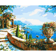 40x50cm Pictures Painting By Numbers DIY Digital Canvas Oil Painting Landscape Mediterranean Sea Pattern Home Decor w64