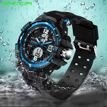 2017 Sale New Sanda Digital Led Watches Military Cool Car Lovers Sport Big Dial Unisex Blue Flash Matrix Racing For Women(China)