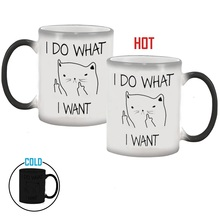 I DO WHAT,I WANT. FUNNY CAT Color Changing Cups Sensitive Ceramic COFFEE mug best Gift for your friend