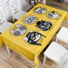 Hot Sale Free Shipping New Top-quality Cartoon Animal Style Rectangle thickened cotton linen tablecloth waterproof table cover