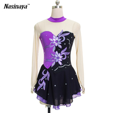 Customized Costume Ice Skating Figure Skating Dress Gymnastics Black Adult Girl Show Skirt Performance Rhinestone Competition
