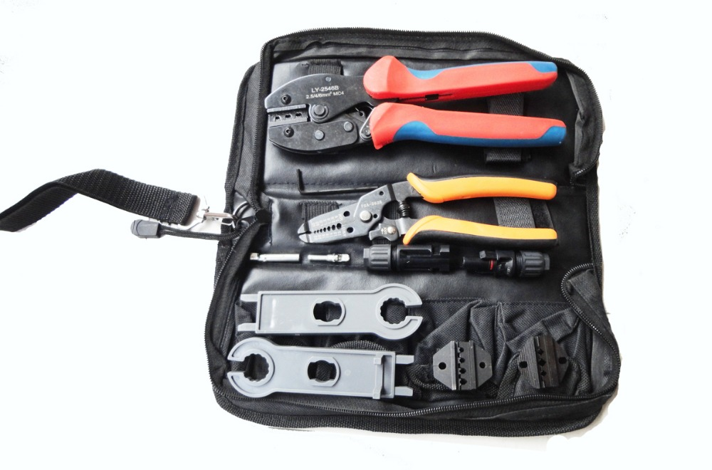 LY-K2546B-4 electric combined tool set with MC4 crimping tool,wire stripper,MC4 spanner,connectors and MC3 TYCO dies kit<br>