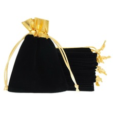 MJARTORIA 50PCs Black Velvet Drawstring Pouches Gold Tone Gift Bags Simple Pouches For Jewelry Packaging & Display 10x12cm(China)