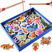 32Pcs Children Wooden Magnetic Fishing Game Bath Toy Fishing Rod For Kids Gift Fishing Toys Wood