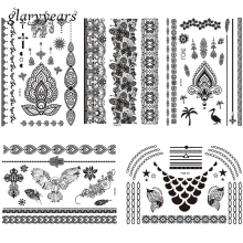 5 Pieces Temporary Animal Tattoo Sticker Owl Butterfly Elephant Crane Design Flower Lace Pendant Tattoo Decal Painless for Women