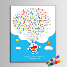 Hot! Creative Guest Book for Fingerprints Lovely Doraemon Canvas Painting For Kid Happy Birthday Baby Shower Christening Decor