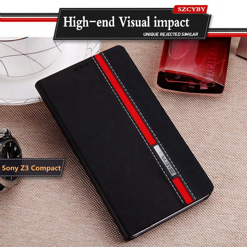 Z3 Compact Case Flip Wallet Color Hit Red Black Leather Soft Silicon Cover For Sony Xperia Z3 Compact D5803 D5833 Phone Cases(China)