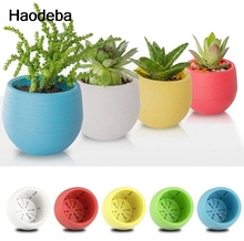 Haodeba 1pcs Gardening Mini Plastic Flower Pots Vase Square Flower Bonsai Planter Nursery Pots /flower pots planters/garden pots(China)