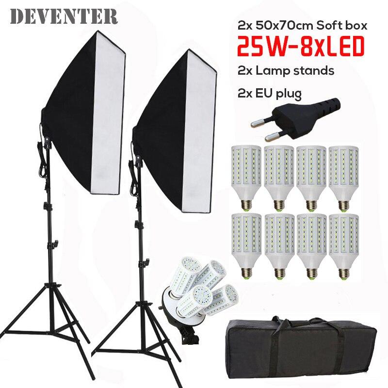 8PCS 25W E27 LED Bulb 5500K Photo stuido Soft Box Light Kit Photo Equipment lighting Set 2PCS 2m Bracket 2PCS 50x70CM Softbox<br><br>Aliexpress