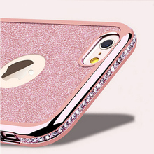 Glitter Plating Diamond Case + Bling Card Cover For iPhone 7 6 6S Plus 5s SE Rhinestone Soft Phone Coque  For iPhone 6 7 6S 5S
