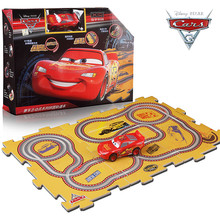 Disney Pixar Cars 3 Lightening McQueen Jackson Storm One Electric Slot Car Birthday Gifts with 6 DIY Tracks For Kids Children(China)