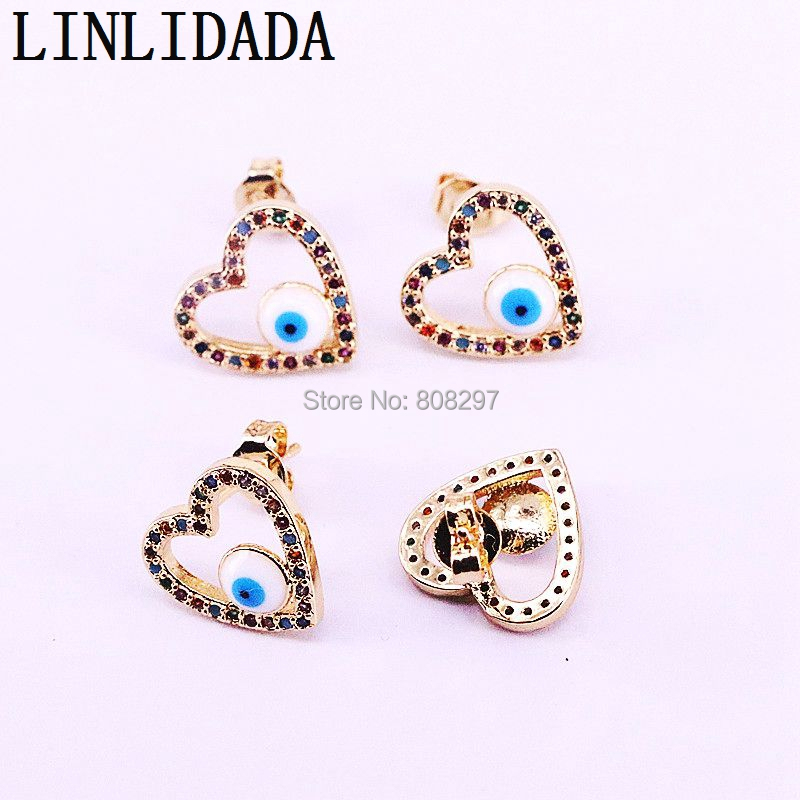 10Pairs New Design Fashion Gold Color Micro Pave Rainbow CZ Zircon Heart Stud Earrings For Women Party Jewelry