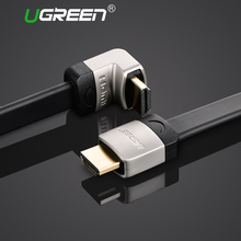 Ugreen metal HDMI flat cable Angle 90 degree Male to Male 1M 1.5M 2M 3M HDMI 1.4 4K 1080P 3D for PS3 Xbox projector Apple TV(China)