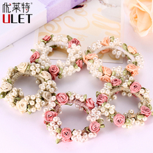 Fashion Elegant Headwear Women Gum Pearl Hair Rope Full Beads Headbands Pearl Accessories Flower Rubber Headband Tressless(China)