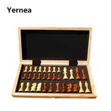Chess Wooden Wooden Checker Board Solid Wood Pieces Folding Chess Board High-end Puzzle Chess Game Yernea(China)