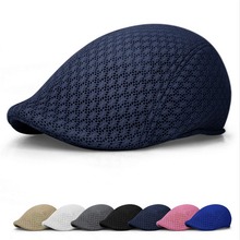 2016 Summer Unisex Men Women Sun Mesh Beret Cap Newsboy Golf Cabbie Flat Peaked Hat Casquette Breathable Berets DP986229(China)