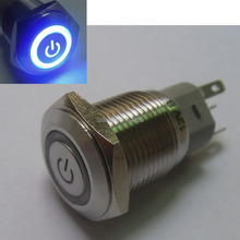 IP67 Waterproof 16mm Blue Symbol&Angel LED 12V 3A Stainless Steel ON/OFF Switch(China)