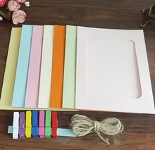7PCS/lot colorful photo frame papercard photo with hemp rope mixed color clips(China)