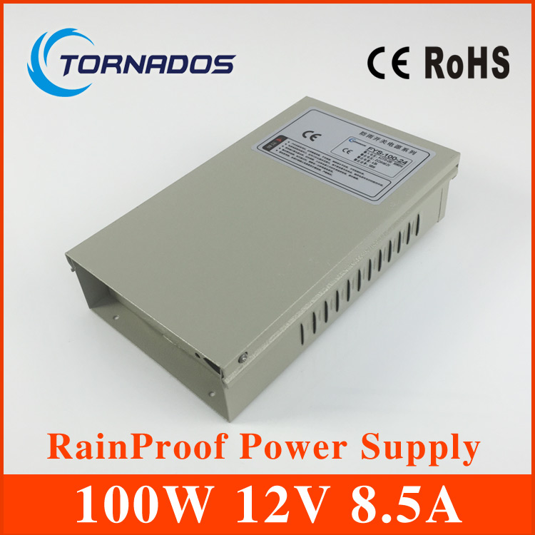 12V 8.5A 100W rainproof Switching led Power Supply,170~264V AC input 12V DC output for led strips free shipping<br>