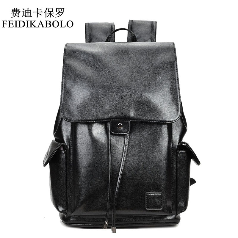 FEIDIKABOLO Famous Brand Boys Black Bags Leather School Backpack Bag For College Simple Design Men Casual Daypacks Mochila Male <br>