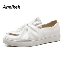 Aneikeh Big Bowknot Flat Shoes Casual Shoes Women Loafers 2017 Round Head Elastic Band Students' Shoes NEW Spring Autumn