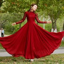 Women Collar Scalloped collar Hollow Out Lace Chiffon Retro Long Sleeve With Maxi Dress Red Unique Prom Big Swing Dress(China)
