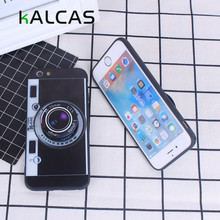 KALCAS 3D Fashion Camera Pop Phone Cases For iphone 6 6S Case Luxury Soft Cover Stand Holder For iphone 5 5s se 7 7 plus Case