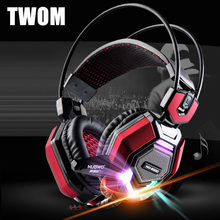 TWOM Computer Headband Gaming Luminous Headphones with HD Microphone for PC Subwoofer Big Headset Stereo Bass Earphone 50mm Unit
