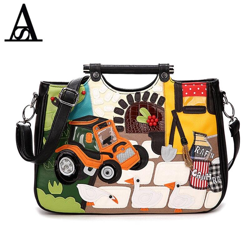 Aitesen Braccialini Bags Women Handmade Vintage Handbags Car Appliques Personalized Portable Crossbody Bags Style Messenger Bags<br>