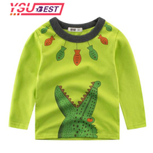 2018 Baby boys T-shirt Children Clothing Cloth 2-8Yrs Boys Long Sleeve Tops Crocodile Printed Kids T-shirt for Boys Sweatshirt(China)