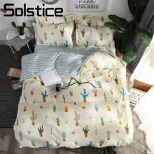Solstice Home Textile King Queen Full Twin 3 4Pcs Bedding Set Pillowcase Quilt Cover Sheet Off-White Cactus Bed Linen Bedclothes(China)