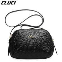 CLUCI Women's Shoulder Bags Real Cow Leather Black/Pink Flowers Print Floral Small Luxury Crossbody Bags Messenger Ba for Ladies
