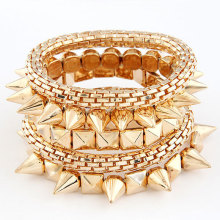 Fashion Punk Style Exaggerated Multilayer Metal Spike Rivet Stud Stretch Charm Bracelet & Snake Chain Bracelet(China)