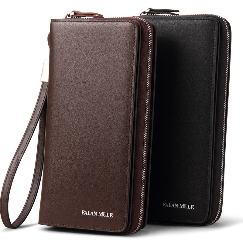 FALANMULE mens purse Long genuine leather men wallet Designer Brand Purse New Zipper Wallet men clutch bags card holder dollar<br>