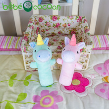 bebecocoon Stuffed Plush Rattle Unicorn Hand Bells Animals Rattles Newborn Infant Early Educational Doll Gifts brinquedos(China)