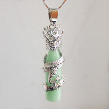 Wholesale free shipping fancy Chinese Wind Cylinder light Green JADE Dragon  Pendants Necklace
