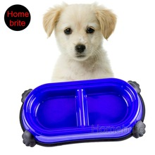 Lovely Pet Dog Bowl Puppy Dog Feeders With 2 Diner Cells For Food&Water 1 Piece Small Large PP043
