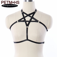 Buy Women Sexy Pentagram Harness adjustable Elastic black Strappy Hollow Tops Bustier Bondage Goth punk Fetish Exotic dance wear bra