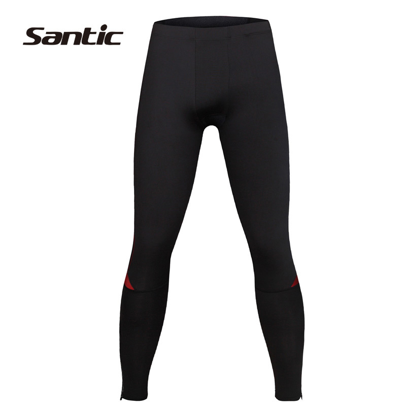 SANTIC Cycling Mens Compression Running Tights Pants Body Fit Outdoor Sports Riding Bike Pants Bicycle Accessories,Black Red<br>