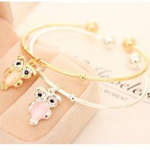 New Korean Sweet Sea Opal Cat Eye Shining Rhinestone Gold Silver One Direction Cuff Bangles Owl Animal Open Bracelets For Women