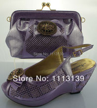 Open toe wedges lady heels Italian fashion womens shoes and bag set with rhinestones 2015 free shipping NS8807 LILAC